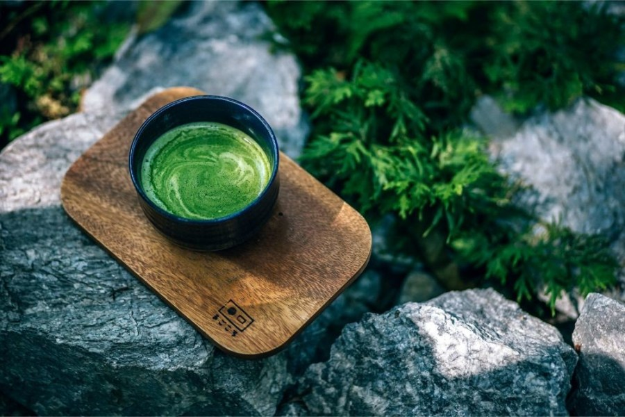 Matcha-Tea-Served-on-a-Wooden-Board-in-Magokoro-Japanese-teahouse