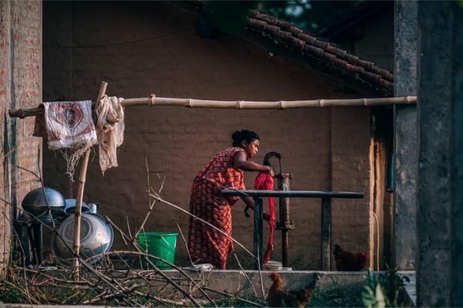 Nepali-Woman-Washing-Her-Clothes