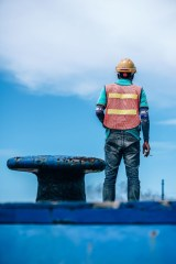 Pier-Worker-Standing-at-the-Dock-in-Koh-Phangan