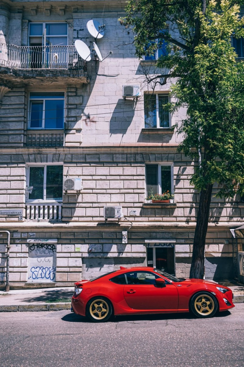 Red-Sports-Car-Parked-on-the-Streets-of-Sevastopol