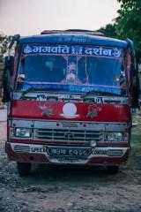 Retro-Bus-in-a-Nepali-Village