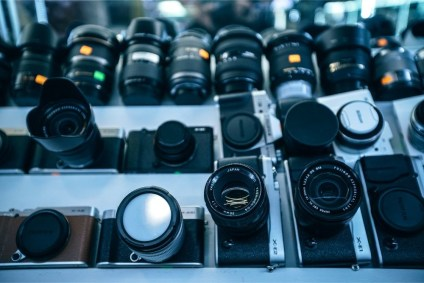 High-Angle-View-of-Camera-Lenses-for-Sale