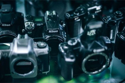 Vintage-Nikon-Cameras-for-Sale-in-an-Electronics-Shop