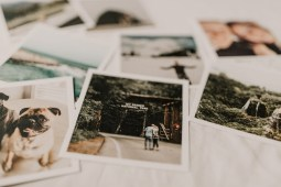vintage polaroid photos layign on the bed