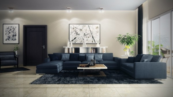 This next living room is also from gaurav but uses various soothing shades of blue to make visitors feel like they are drifting across a cool blue ocean