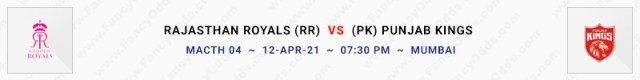 Match No 4. Rajasthan Royals vs Punjab Kings (RR Vs PK)