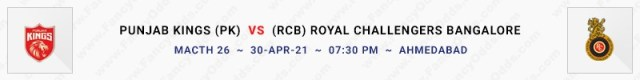 Match No 26. Punjab Kings vs Royal Challengers Bangalore (PK Vs RCB)