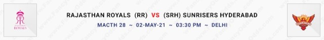 Match No 28. Rajasthan Royals vs  Sunrisers Hyderabad  (RR Vs SRH)