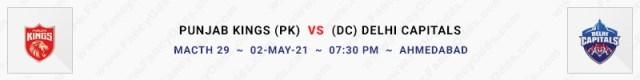 Match No 29. Punjab Kings vs Delhi Capitals (PK Vs DC)