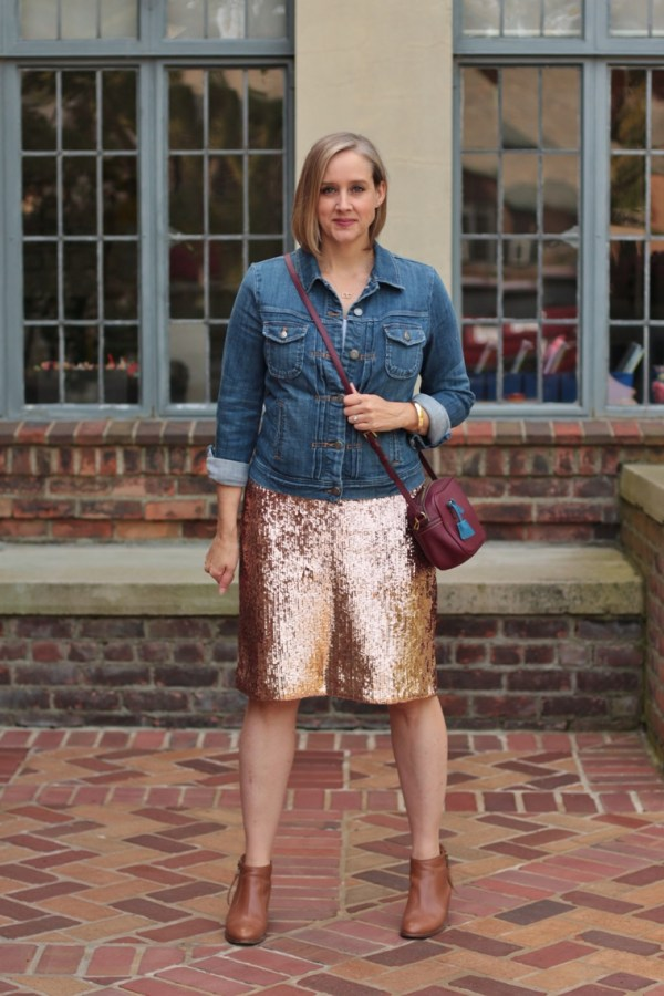 j crew rose gold sequin skirt with a denim jacket and booties, 40 + style blogger, 40 + fashion blogger