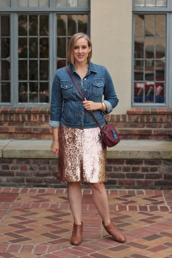 how to dress down a sequin skirt, 40 + style blogger, 40 + fashion blogger