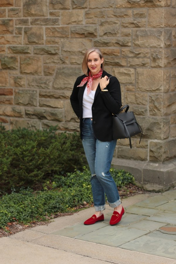 how to wear red velvet loafers for fall, 40 + style blogger, 40 + fashion blogger