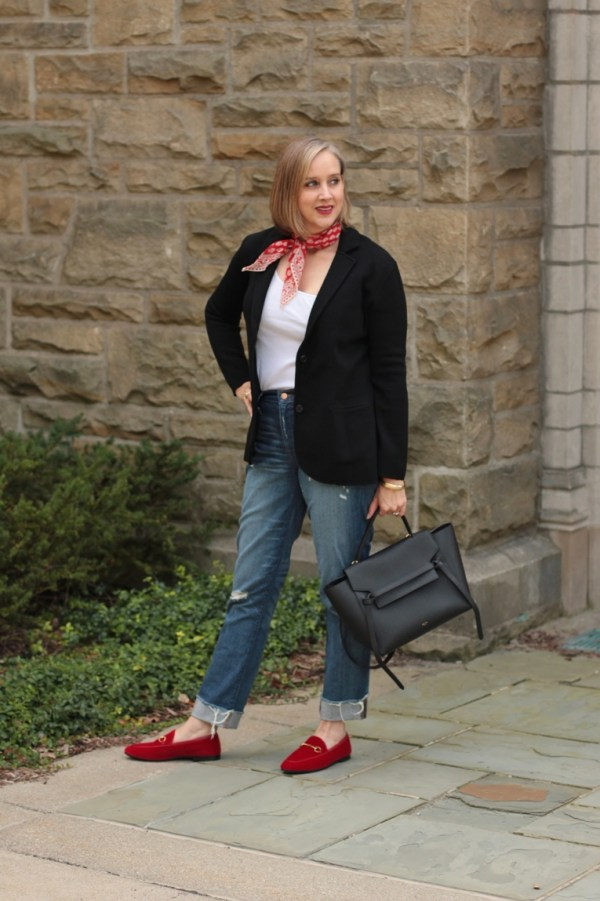 black and denim with pops of red, 40 + style blogger, over 40 style blogger
