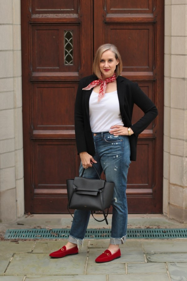 black blazer, distressed denim, red bandana, red velvet loafers, 40+ style blogger