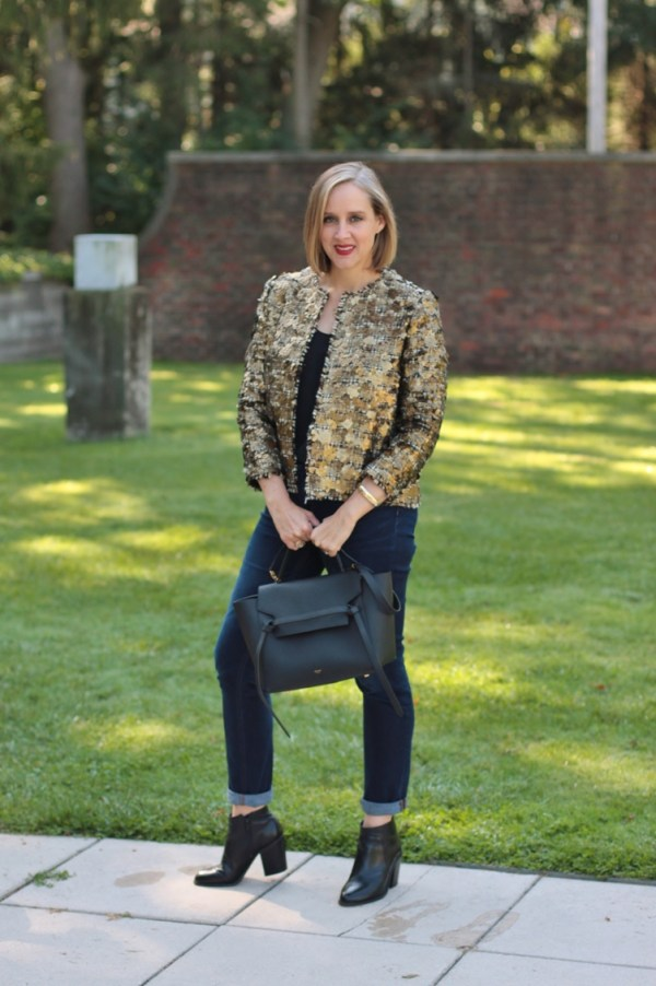 gold sequin blazer with rolled denim and black booties, over 40 style blogger, over 40 fashion blogger