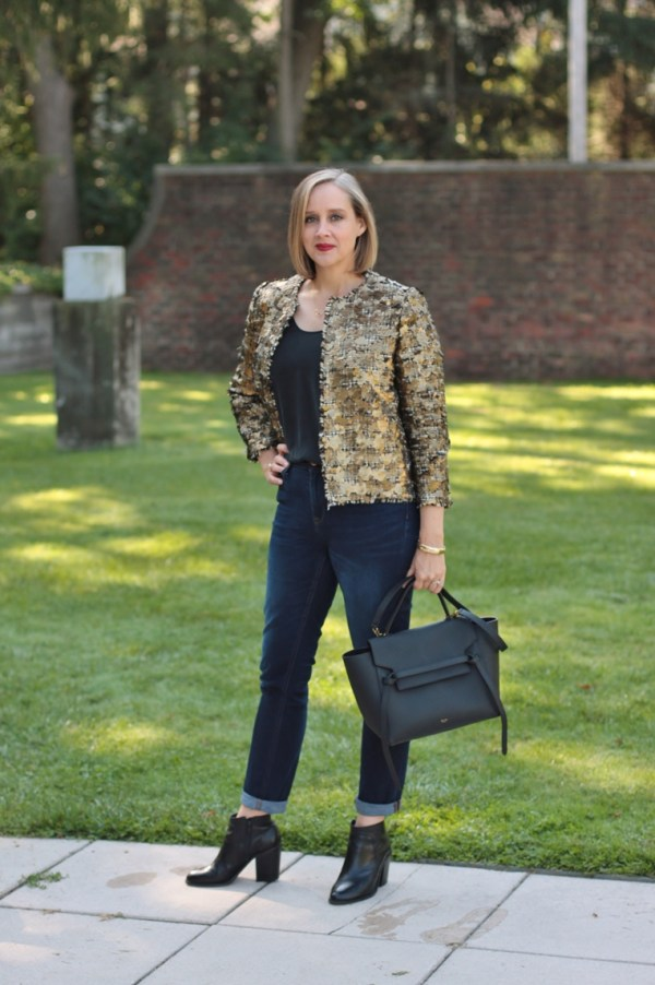 zara gold sequin and tweed blazer, with jeans and black booties 40 + blogger, 40 + style blogger, Detroit blogger