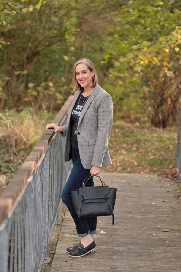 how to wear a checked blazer for fall autumn, over 40 style blogger, over 40 fashion blogger