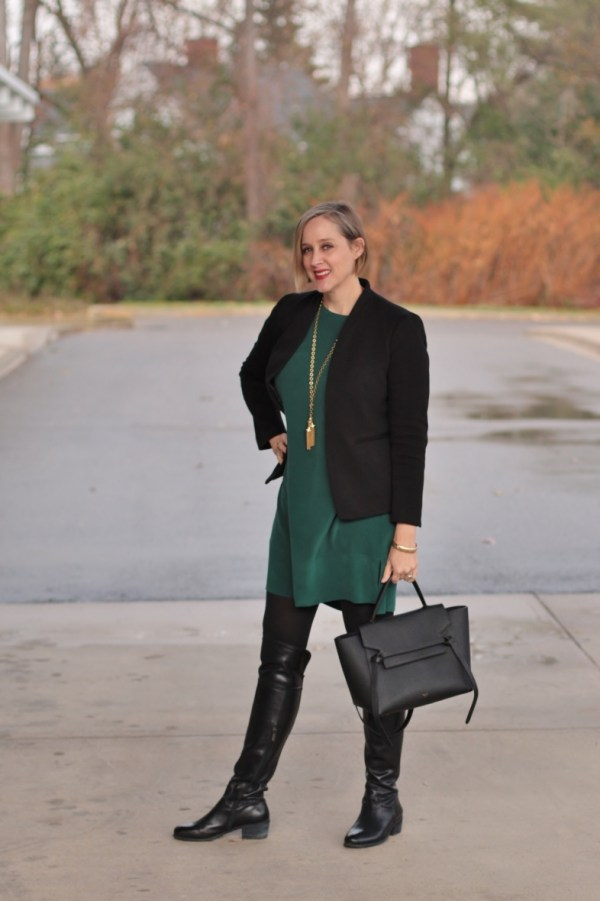 40 + style blogger, 40 + fashion blogger, Detroit blogger, black and dark green outfit