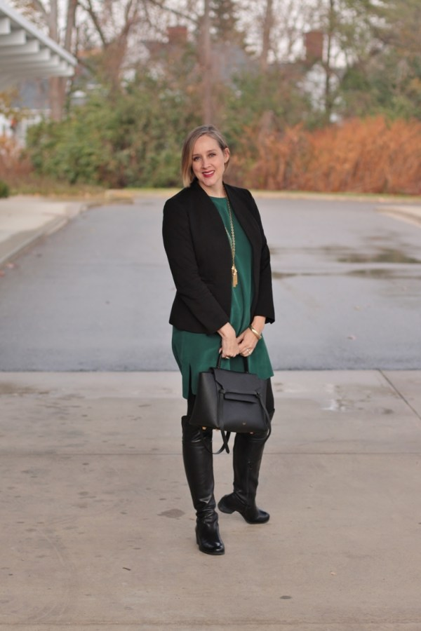 grana silk t-shirt dress in forest green with a black blazer and black boots