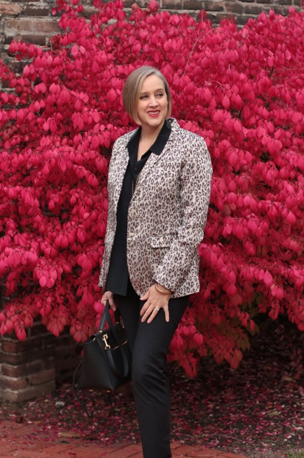 leopard print blazers are acceptable for work, 40 + style blogger