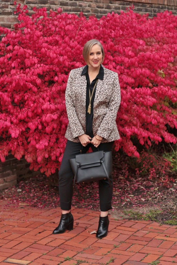 how to wear leopard print to work, 40+ style blogger, over 40 style blogger