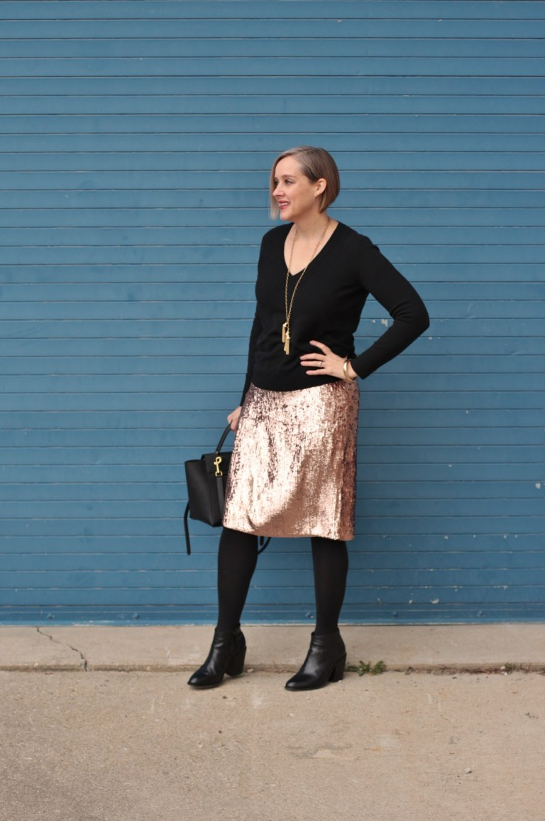 how to wear a pink sequin pencil skirt, over 40 style blogger