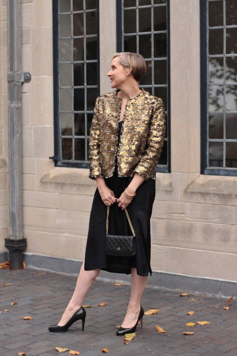 sequin jacket with a basic black dress, 40+ style blogger