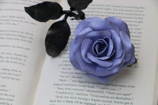 Lilac satin coloured steel metal rose handmade by Bob Iles of Fandangle Crafts