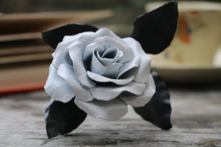 White satin coloured metal rose recycled steel handmade by Bob Iles of Fandangle Crafts