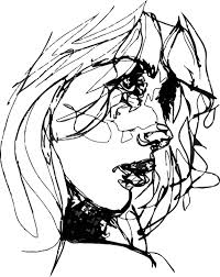 A close-up line drawing of a woman's face