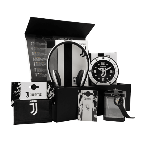 The Juve Fanatico Kids Chest gift box with a clock, headphones, wallet, watch, and pin.