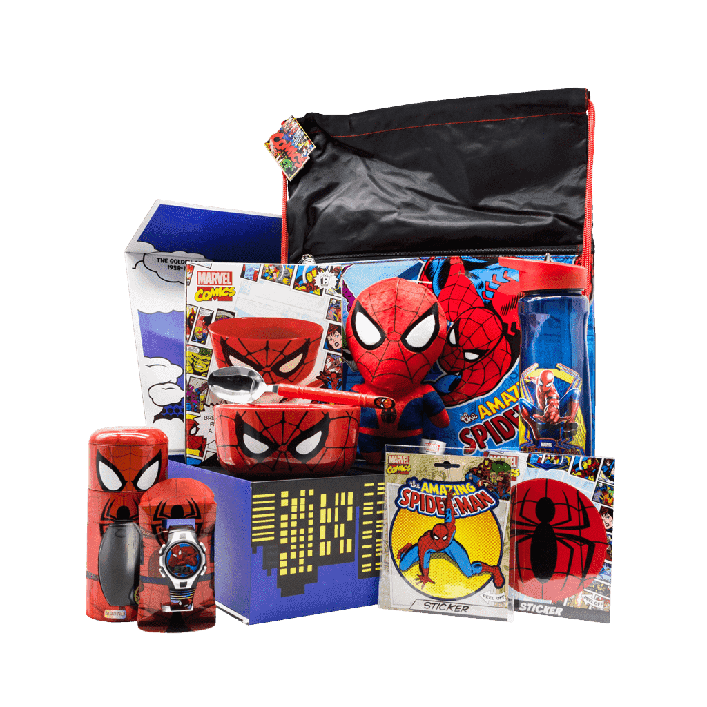 Spiderman Spidey Superhero gift box includes ceramic bowl with spoon, kids watch, drawstring bag, 7 inch character plush stuffy, water bottle, character sticker and logo sticker