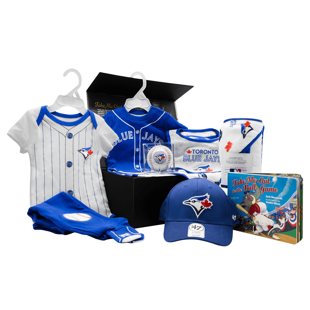 Blue Jays Fanatics Lil Fan Chest gift box with baseball, bibs, towel, cap, onsie, onsie with pants, and book.