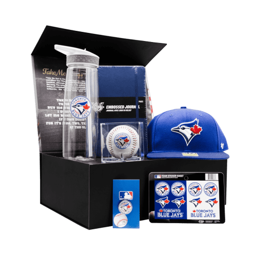 Toronto Blue Jays Supporters Ace Kids Chest gift box with cap, baseball, journal, water bottle, stickers, and pin.