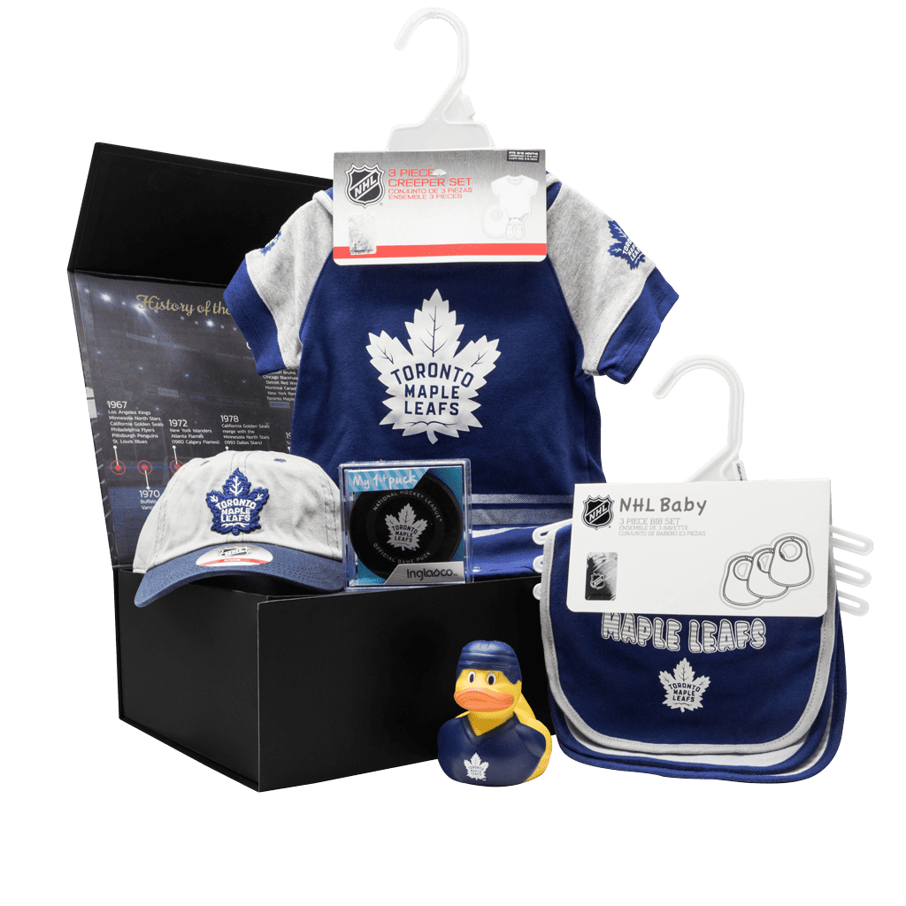 Maple Leafs Supporters Lil Fan Chest gift box with cap, my first puck, rubber duck, bibs, and jumper with booties.