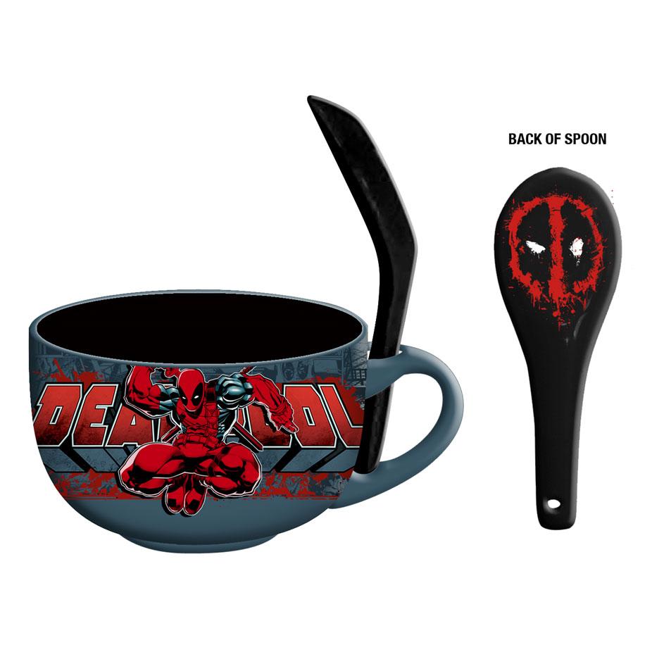 Deadpool 24 ounce Ceramic Soup Mug with Spoon