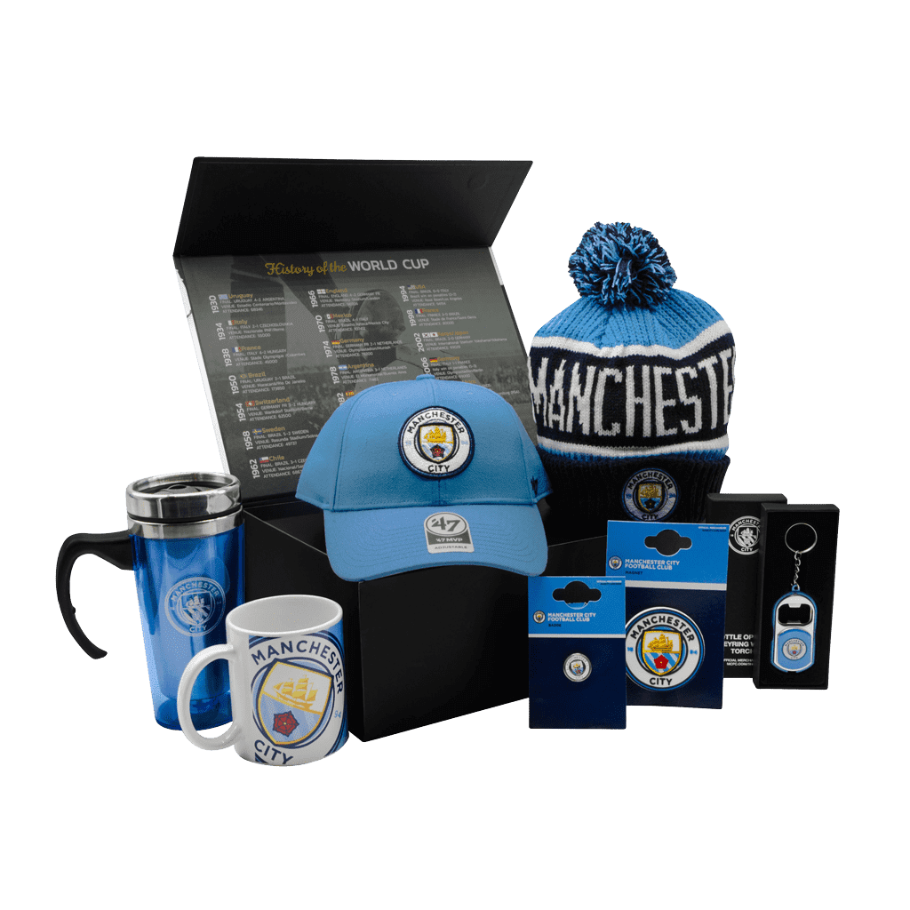 The Man City Fanatics Citizens Chest gift box with a cap, toque, travel mug, mug, magnet, pin, and bottle opener.
