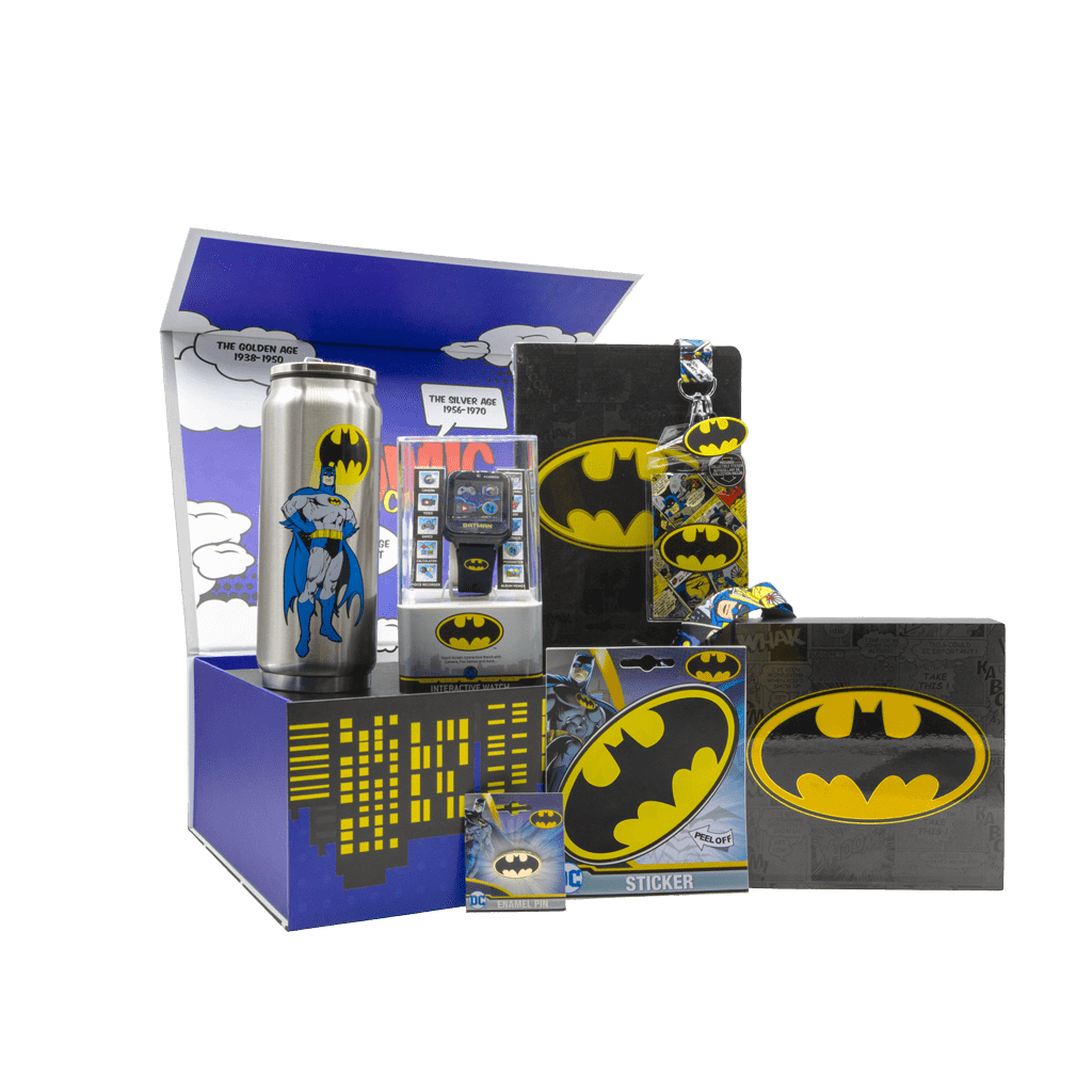 Batman DC Comics Gift Box with can bottle, smart watch, notebook, lanyard, wall frame, sticker, and pin.