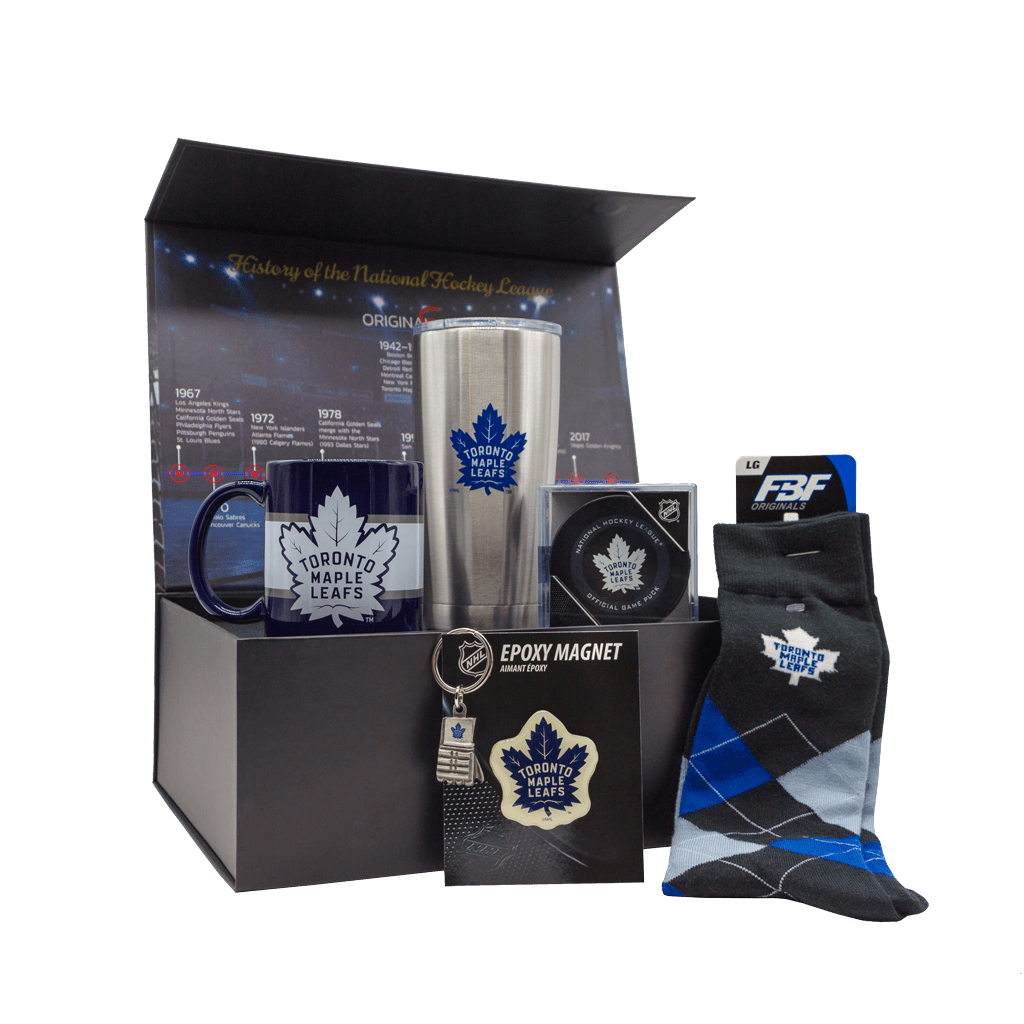 Maple Leafs Fanatics Road Game Gift Box with Tumbler, mug, puck, socks, magnet, and keychain.
