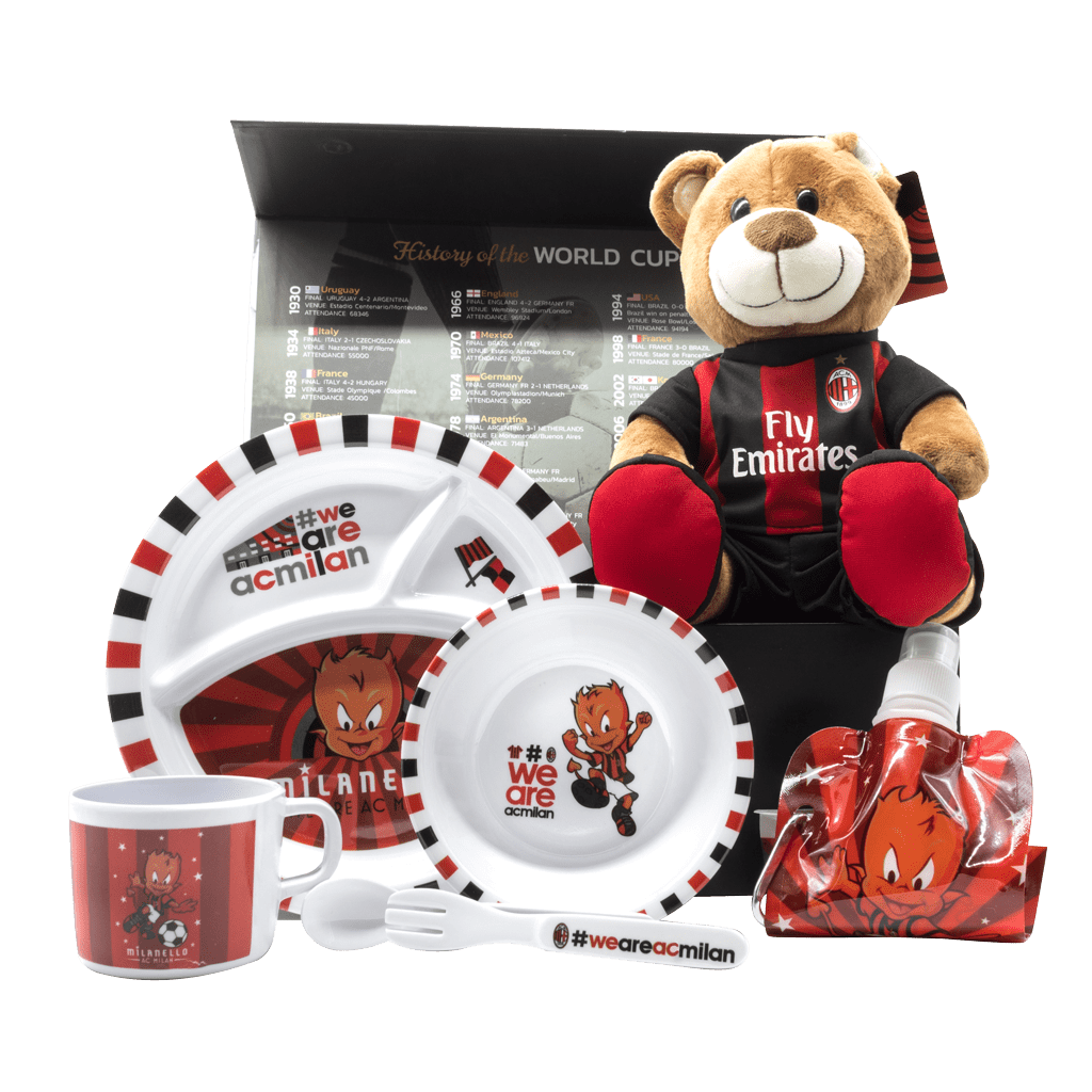 AC Milan My 1st Gift Box with plush bear, squeeze bottle, plate, bowl, cup, spoon and fork