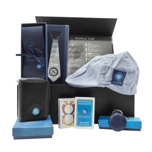 Napoli Dad Gift Box with wallet, keychain, tie, Napoletane Italian Playing Cards and hat