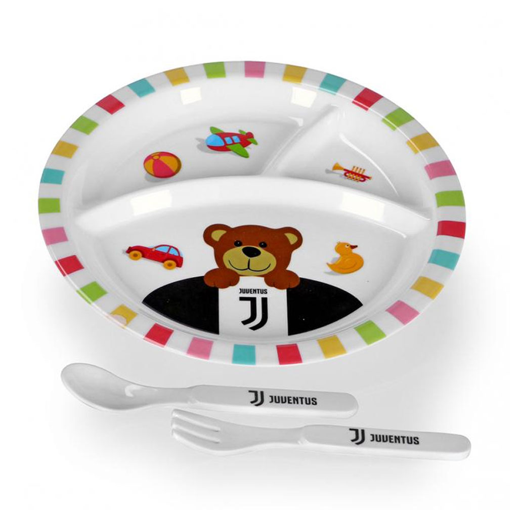 Juventus kids plate, spoon and fork