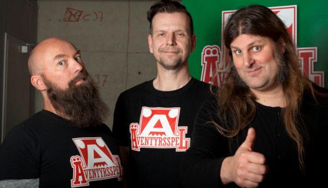 Jimmy Wilhelmsson, Dan Algstrand och Orvar Säfström - skaparna av boken om Äventyrsspel från 2015.