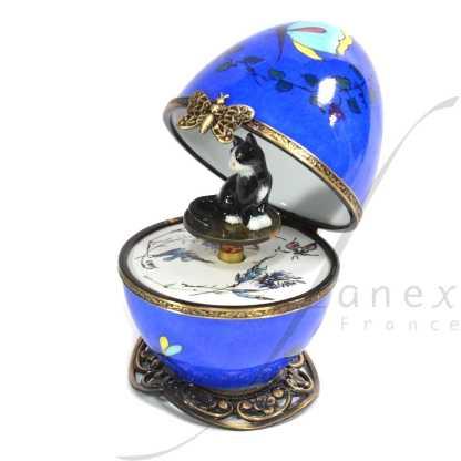 cat blue automata limoges music egg