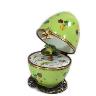 automata music box green frog limoges