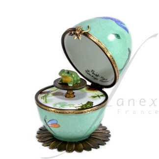 automata green frog music box limoges