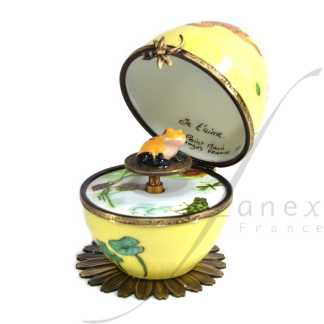 automata yellow frog music box limoges