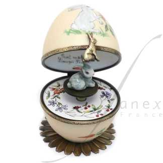 rabbit automata music box beige limoges trinket