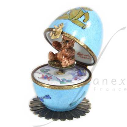 automata music box blue bear limoges