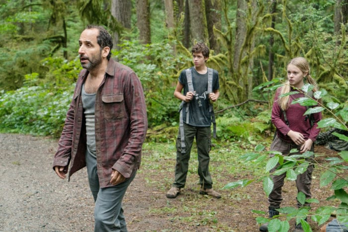 """COLONY -- """"Maquis"""" Episode 301 -- Pictured: (l-r) Peter Jacobson as Proxy Alan Snyder, Jacob Buster as Charlie Bowman, Isabella Crovetti-Cramp as Grace Bowman -- (Photo by: Daniel Power/USA Network)"""
